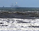 Drilling platform in gray whale habitat, off Sakhalin Island, Russian Federation.