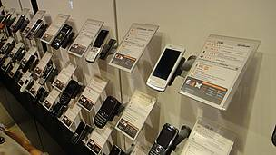Phone with new ecolabeling in Orange store in Yerevan