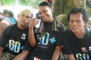 WWF SPPO staff Kasanita Logomosi to the right with her family
