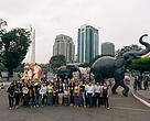 """Voices for Momos"" campaign event with life-sized paper mache elephants"