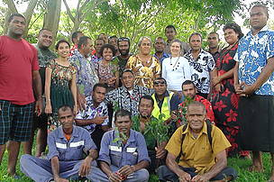 Group shot with participants of National Summit for Building Resilience to Climate Change right after planting legacies in the Botanical Garden, Labasa. This was the first ever Climate Summit witnessed in the Fiji Islands held between 23-25th October 2012.