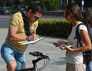 A biker signs the WWF Bulgaria river petition