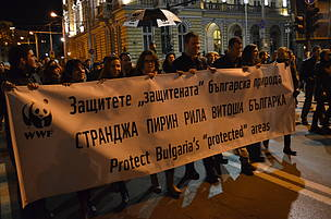 Street protest in Bulgaria to save Strandzha Nature Park, joined by WWF forest experts from around the world