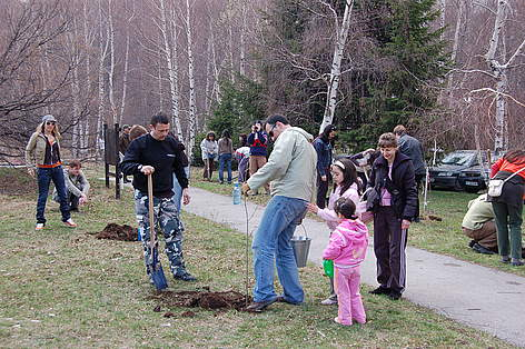 Volunteers planting Christmas trees in pots, Vitosha Nature Park, Bulgaria, 11 April 2009 rel=