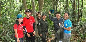 HSBC Staff volunteers on a forest patrol with project staff in Quang Nam Saola Nature Reserve