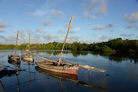 Fishing boats in Faza, Lamu. rel=