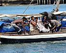 Artisanal Fishermen in Kenya's Coast offload swordfish after a whole night out fishing.
