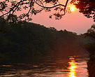 Sunset over Luilaka River in Salonga National Park, DRC. It is Africa's largest forest park and is on the list of World Heritage Sites in danger.