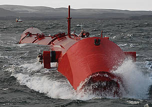 Red metal, jointed tubing moving in the sea waves. / ©: Pelamis Wave Power