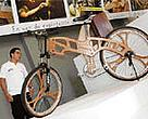 A wooden bike, made by the artist David Antelo out of wood from the Cariniana estrellensis tree.