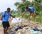 Fiji Bati Resident players collecting rubbish along a section of the Lami foreshore.