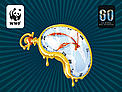 A Dali style watch on the classic Earth Hour style background.  	© WWF Spain