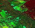 Where the carbon is - image shows an area of road building and development adjacent to primary forest in red tones, and secondary forest regrowth in green tones
