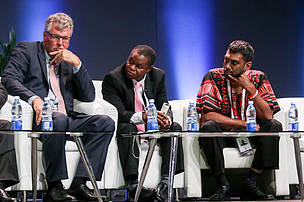 WWF's Fred Kumah (middle) at opening plenary.