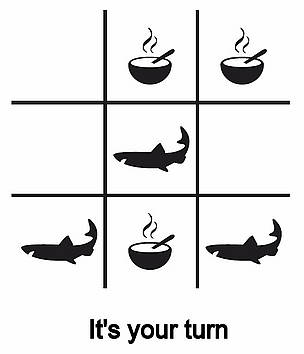 Tic tac toe board with icons of sharks and soup bowls / ©: WWF Singapore