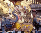 Even in Hindu-dominated India, where the elephant is revered as the living embodiment of the popular elphant-headed god Ganesha, tensions are on the rise between a growing human population and an elephant population in search of food and a more suitable habitat. A temple to Ganesh in Assam, India.