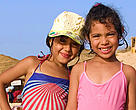 Tunisian girls on the beach in Tabarka
