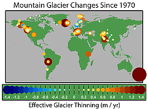 The map shows the average annual rate of thinning since 1970 for the 173 glaciers that have been ...  	© Global Warming Art / Robert A. Rohde