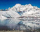 The Gokyo wetlands are threatened by pollution and the potential danger of glacial lake outburst floods caused in part by global warming. Gokyo Lake, Nepal.