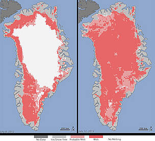 Extent of surface melt over Greenland's ice sheet on July 8 2012(left) and July 12 2012(right). Measurements from three satellites showed that on July 8, about 40 percent of the ice sheet had undergone thawing at or near the surface. In just a few days, the melting had dramatically accelerated and an estimated 97 percent of the ice sheet surface had thawed by July 12.