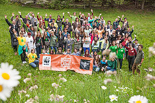 Participants in the 2013 closing event of European Schools for a Living Planet.