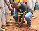 Dr Njiforti in a tree planting exercise to fight climate change