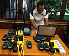 Herman Kisokau from iFIMS setting up the satellite transmitters for the training.