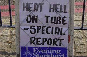 Newspaper headline during the heatwave of summer 2003, London, United Kingdom.  	© WWF / Emma DUNCAN