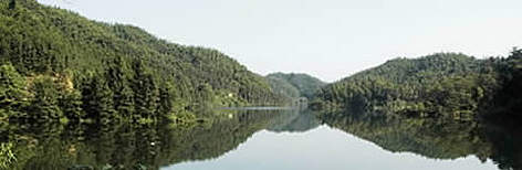 Forests lake in the Huayanxi Provincial Nature Reserve. Hunan Province, China. rel=