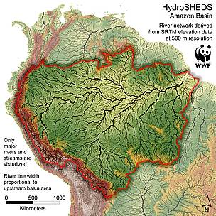 Map showing all Amazon tribuatries  	© WWF, U.S. Geological Survey, ICTA, TNC, University of Kassel