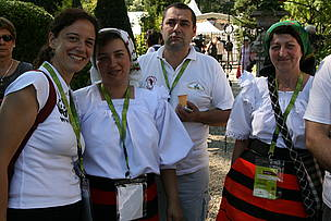 Guest-farmers from Maramures, Romania, and WWF staff enjoy Terra Madre Balkans 2010.