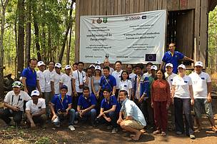 A group photo of WWF staff with EU delegation to Mondukiri Protected Forest (MPF)