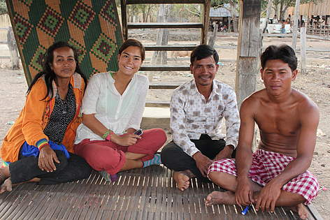 Anne (second from the left) interviews local community members in Mondulkiri Protected Forest.  ... rel=