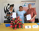 WWF-Pacifics Representative (left) Kesaia Tabunakawai, Conservation Officer for Macuata Provincial Office Makelesi Raciri (centre) and SPREP's Acting Deputy Director General, Strategic Policy and Technical Programmes and Director - Island and Ocean Ecosystems, Stuart Chape .