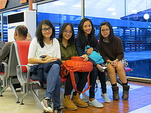 Students from Global Jaya school in Jakarta waiting for the flight to Pontianak