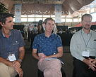 (L-R) Glen Holmes, RFMO Policy Officer, International Fisheries, The PEW Charitable Trusts;  Jamie Gibson, RFMO Policy Manager, International Fisheries, The PEW Charitable Trusts and Alfred Bubba Cook, WWF Head of Delegation to WCPFC speaking to the media at WCPFC16.