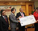 Dr. Sundari Ramakrishna, WWF-Malaysia Conservation Director handing over a grant to Dato' Goh Cheng Liang, Chairman of the MFFAM (second from left) as seed funds to carry out the association's activities witnessed by Director-General of DoF Malaysia, Dato' Ahamad Sabki Mahmood (second from right) and En . Nik Ab.Wahab bin Mat Diah ,Director Aquaculture Development Division of DoF (far left )