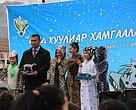 In the end of the event, a snow leopard cub statue made by a metal trap was given to Bayan-Ulgii province governor.