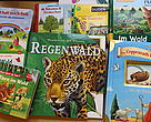 A Wonderworld of knowledge book on rainforests is among German children's book titles published on paper derived from rainforest destruction.