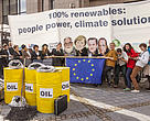 """100% renewables: People power, Climate solutions"": Joint NGO media stunt in front of the EU Council building in Brussels on 18 September 2015"