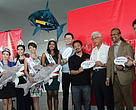Nick Khoo (4th from right: Director of Operations, SSI), YB Phee (3rd from right), Dato' Dr Dino (2nd from right), actor Song-fan Seah (last on right) and beauty queens (see list of names and titles attached) in support of not consuming shark fins.