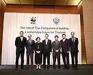 WWF-International Director General Marco Lambertini with WWF-Thailand Country Director Yowalak Thiarachow, WWF-Greater Mekong representative Stuart Chapman and business leaders.