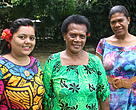 WWF-Pacific admin staff, Artika (Left) and Akata (Right) with Lo (Center) pose for a picture.