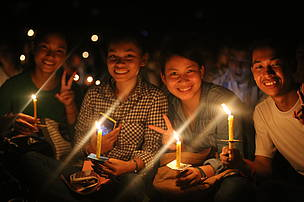 Youth participated and light the candle to celebrate in Earth Hour Cambodia event