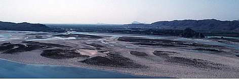The Indus river, near Tarbella hydro dam site, Pakistan.  rel=