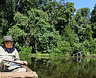 WWF's JC Riveros in the Amazon. His work with freshwater ecosystems is linking healthy species to clean water resources downstream.