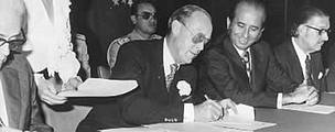 HRH Prince Bernhard, founding President of WWF, a position he held from 1962 to 1976, signing the ...  	© WWF / WWF International