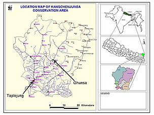 Location Map of Kangchenjunga Conservation Area
