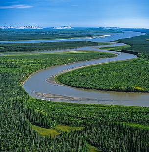 Carcajou River and Mackenzie River confluence, Northwest Territories, Canada