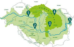 Map of The Green Heart of Europe, WWF's initiative across 12 countries in Central and Eastern Europe (with areas shown in numbers)